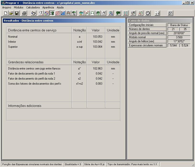 Tela capturada do software PROGEAR